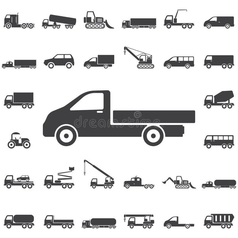 Vrachtwagenpictogram op wit royalty-vrije stock afbeeldingen