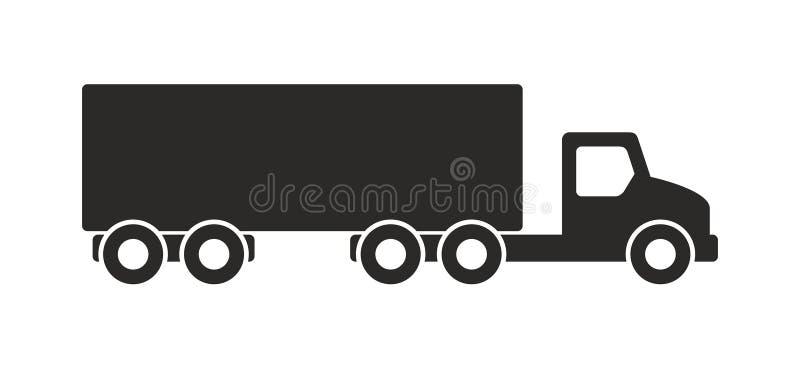 Vrachtwagenpictogram, Zwart-wit stijl royalty-vrije illustratie