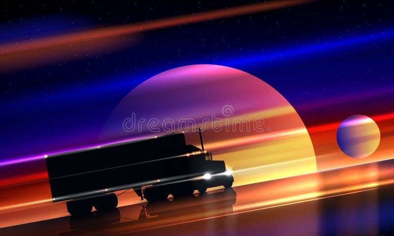 Vrachtwagenritten op weg in ruimte De grote droge bestelwagen van de installatie semi vrachtwagen op nachtweg op kleurrijke kosmi royalty-vrije illustratie