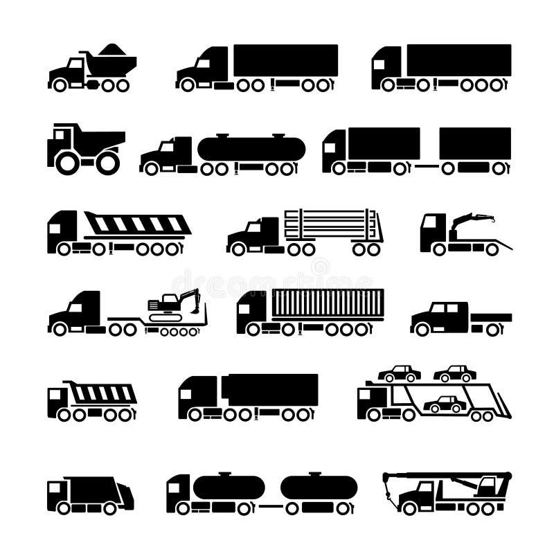 Vrachtwagens, aanhangwagens en geplaatste voertuigenpictogrammen stock illustratie