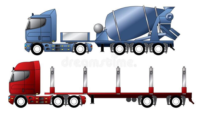 Vrachtwagens met mixer en houtaanhangwagen vector illustratie