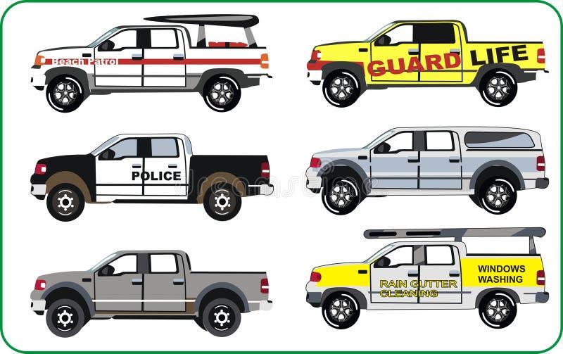 Vrachtwagens van politie, strandpatrouille vector illustratie
