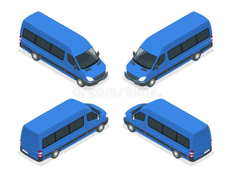 Vrachtwagens Vector isometrisch vervoer Bedrijfsvoertuig Leveringsvrachtwagen De vlakke de leveringsdienst van de stijl vectorill royalty-vrije illustratie