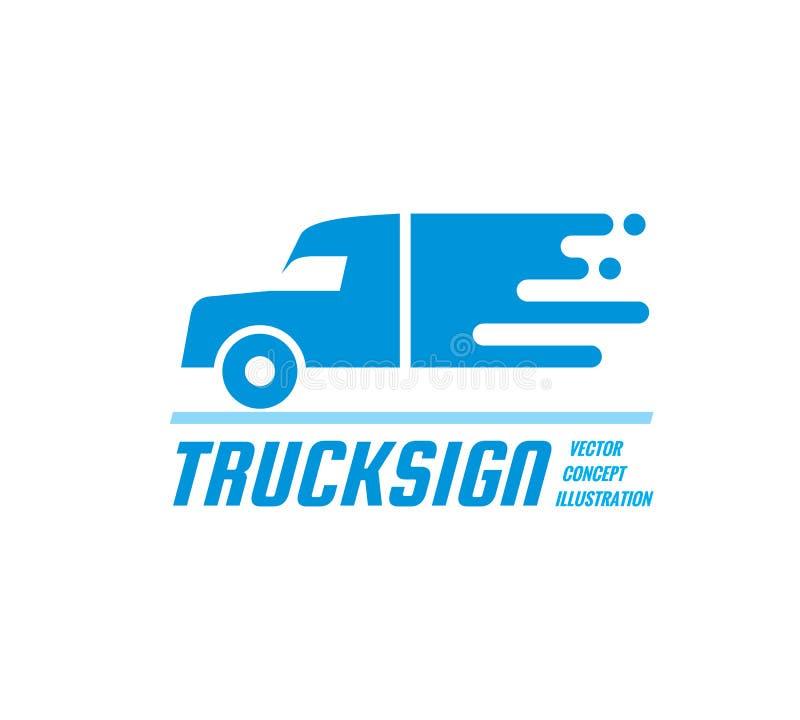 Vrachtwagenteken - vector bedrijfsembleemmalplaatje Abstracte het conceptenillustratie van het autosilhouet Het creatieve symbool stock illustratie
