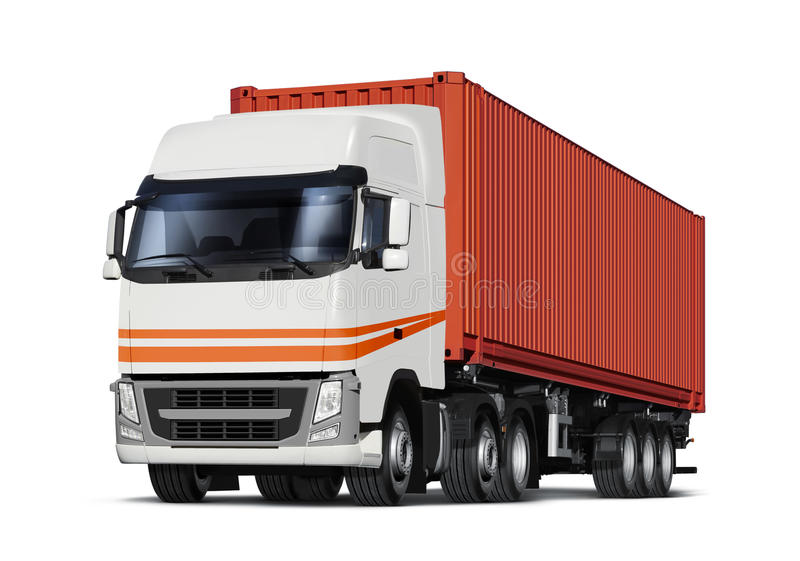 Vrachtwagentransporten container vector illustratie
