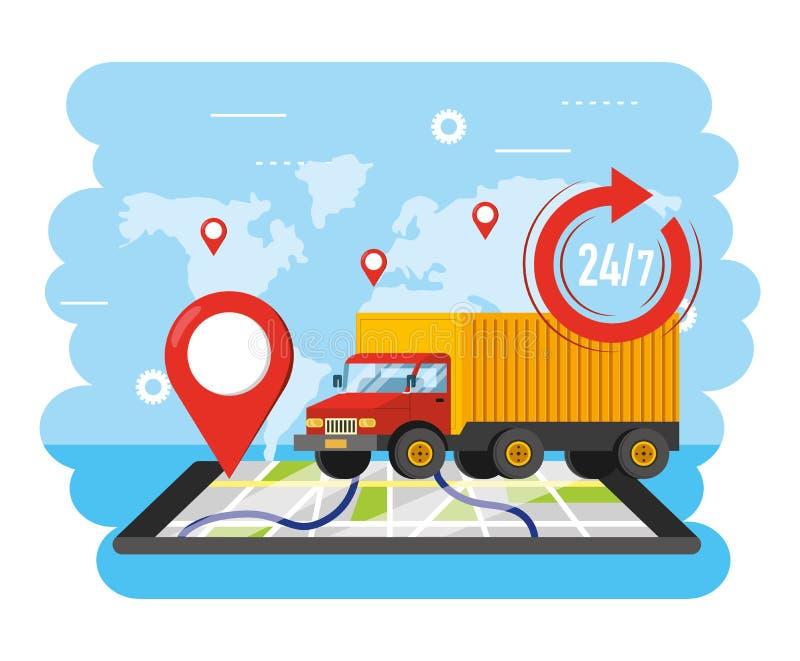 Vrachtwagenvervoer met smartphonegps plaats stock illustratie