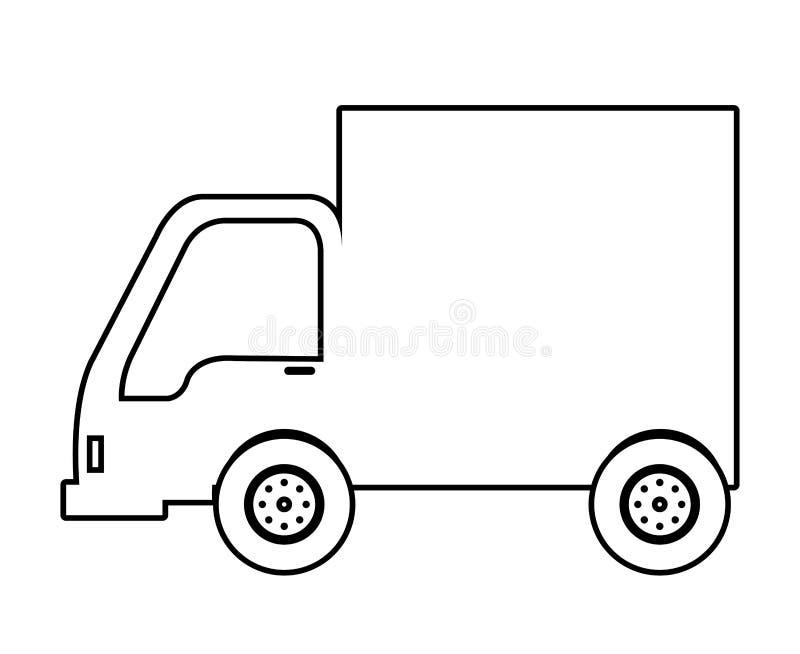 Vrachtwagenvoertuig in zwart-wit kleurenpictogram royalty-vrije illustratie