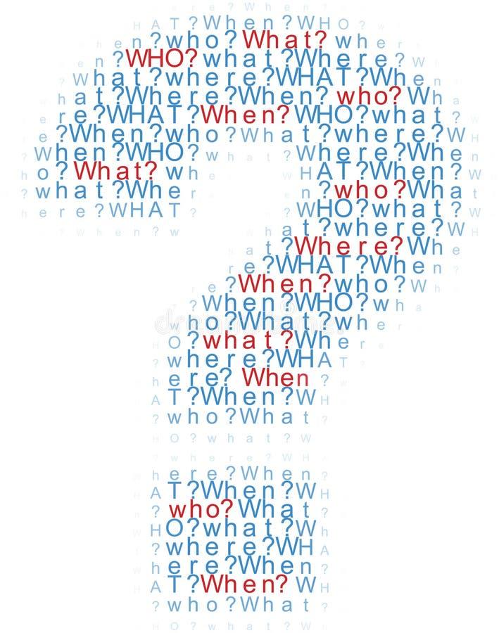 Vragen die wat waar wanneer woorden stock illustratie