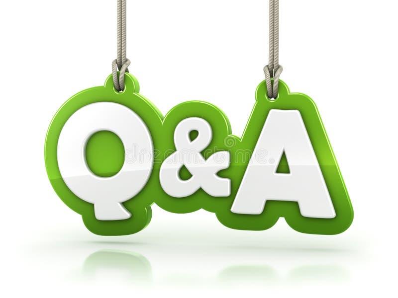Vragen en Antwoordenq&a groene woordtekst op witte rug royalty-vrije illustratie