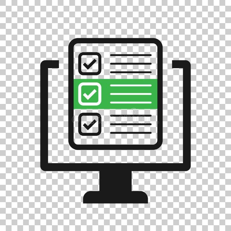 Vragenlijstlaptop pictogram in transparante stijl Online onderzoeks vectorillustratie op ge?soleerde achtergrond Controlelijstrap stock illustratie