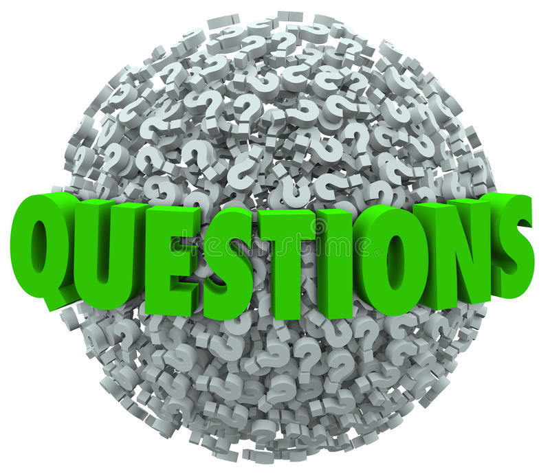 Vragenword Vraag Mark Ball Asking voor Antwoorden royalty-vrije illustratie