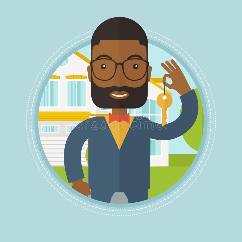 Vrai agent immobilier avec l'illustration principale de vecteur illustration libre de droits