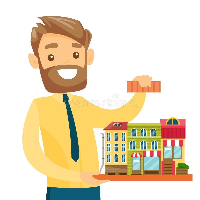Vrai agent immobilier caucasien présentant le modèle de ville illustration libre de droits