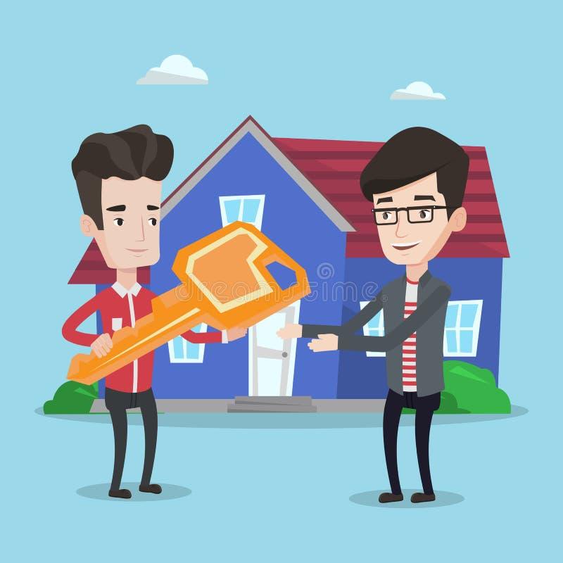 Vrai agent immobilier donnant la clé au propriétaire de nouvelle maison illustration libre de droits
