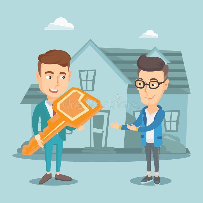 Vrai agent immobilier donnant la clé au propriétaire de nouvelle maison illustration de vecteur