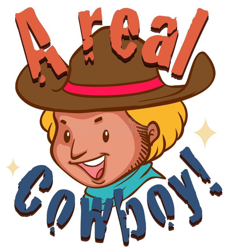 Vrai cowboy avec le texte illustration libre de droits