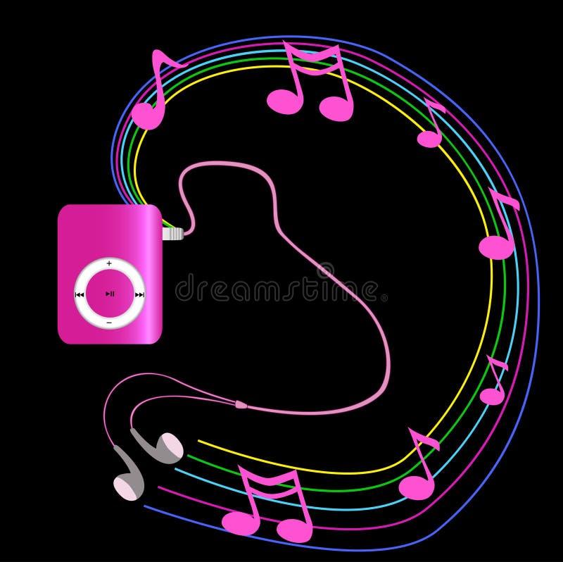 Vrai lecteur mp3 rose avec des écouteurs sur le fond noir Vecto illustration libre de droits