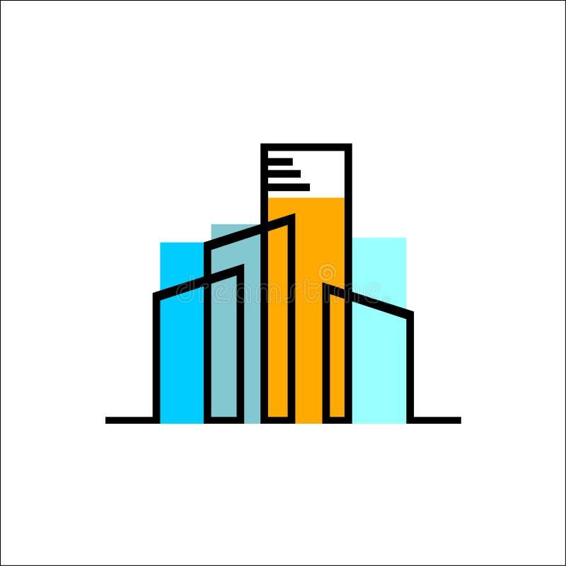 Vrai vecteur coloré de logo d'agence immobilière illustration libre de droits