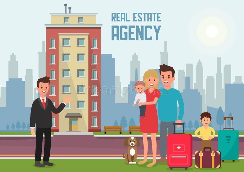 Vraie agence immobilière Illustration plate de vecteur illustration stock