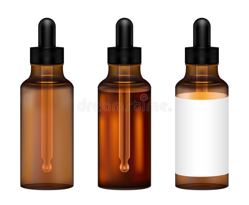 Vraie bouteille en verre ambre avec le vecteur de compte-gouttes d'oeil illustration de vecteur