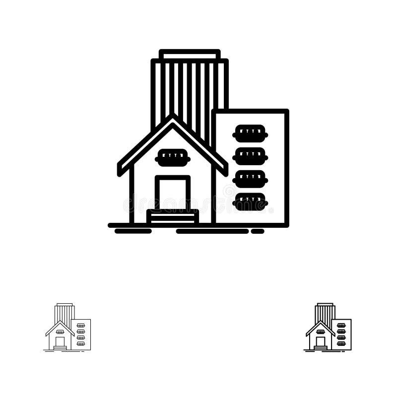 Vraie, d'appartement, de bureau ligne noire audacieuse et mince ensemble de bâtiment, de domaine, d'icône illustration libre de droits