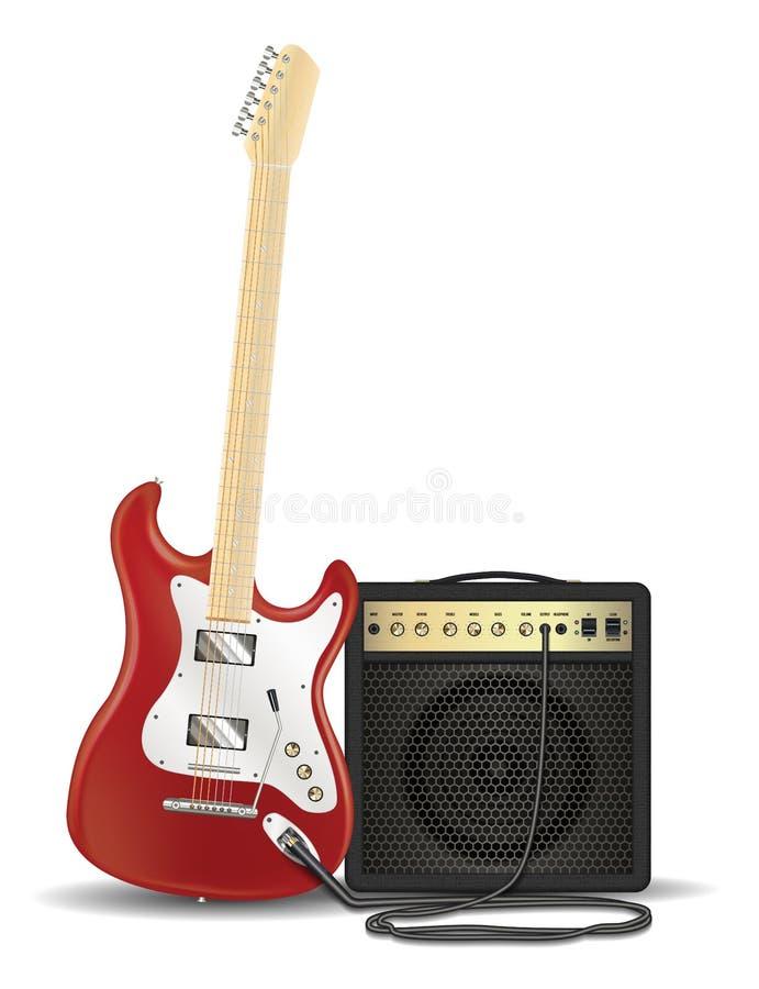 Vraie guitare électrique rouge avec l'amplificateur de guitare illustration stock