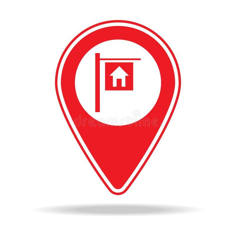 vraie icône de goupille de carte d'agence immobilière Élément d'icône d'avertissement de goupille de navigation pour les apps mob illustration libre de droits