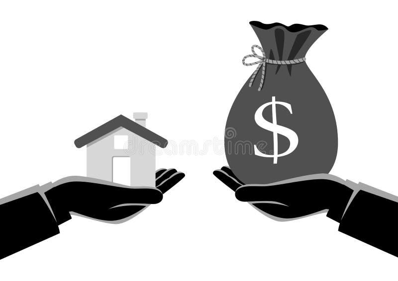 Vraie passation d'agent immobilier une maison à un acheteur illustration libre de droits