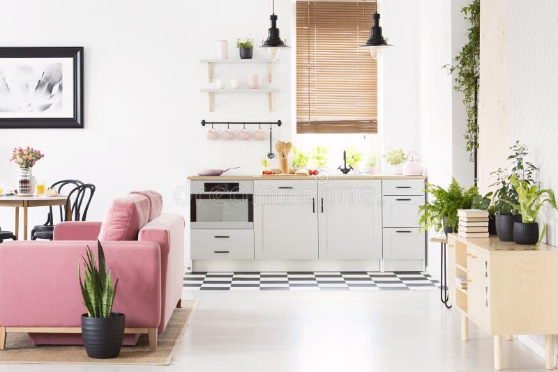 Vraie photo d'intérieur de cuisine de l'espace ouvert avec le floo de damier photo stock