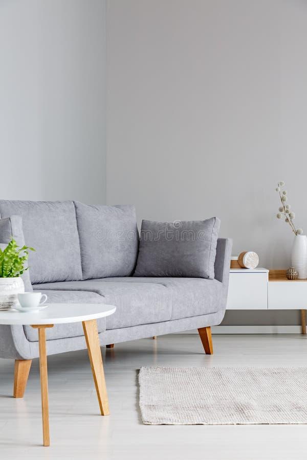 Vraie photo d'un sofa gris se tenant entre une petits table et C.A. image stock