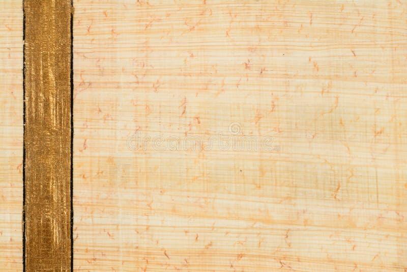 Vrais fond et texture de papier de papyrus de l'Egypte avec le numéro de la ligne d'or vertical 17 Fermez-vous vers le haut du ma images libres de droits