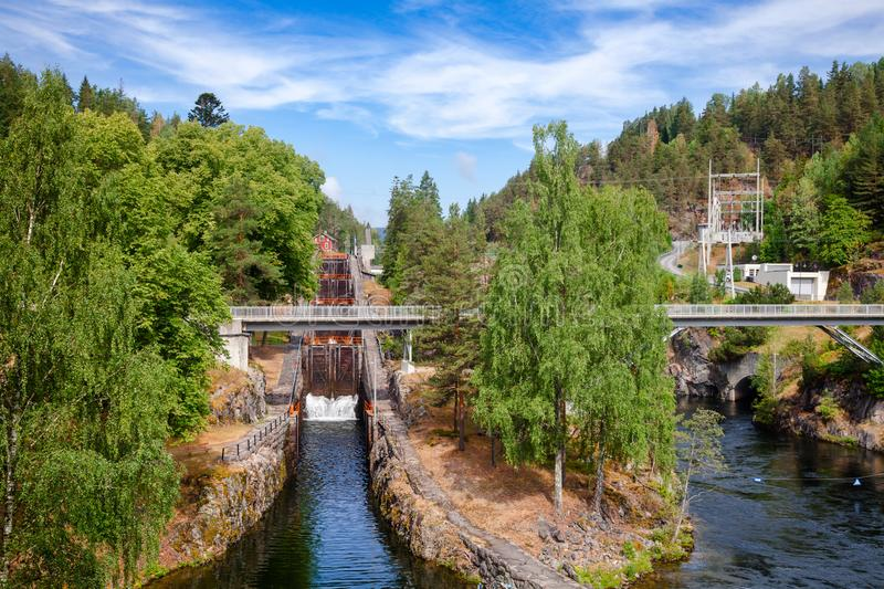 Vrangfoss staircase locks and power plant Telemark Canal Telema. Vrangfoss staircase locks, the biggest lock and major tourist attraction on the Telemark Canal royalty free stock images