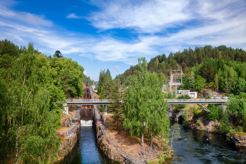 Vrangfoss staircase locks and power plant Telemark Canal Telema. Vrangfoss staircase locks, the biggest lock and major tourist attraction on the Telemark Canal stock image