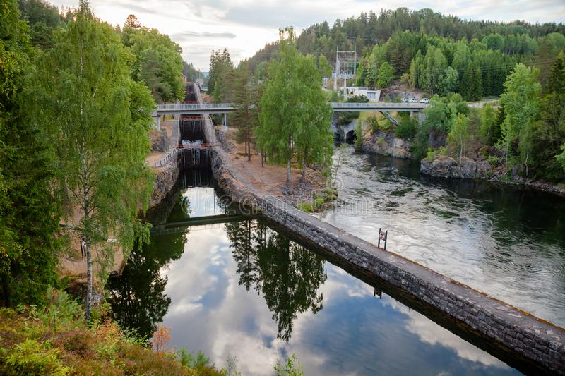 Vrangfoss staircase locks and power plant Telemark Canal Telema. Vrangfoss staircase locks, the biggest lock and major tourist attraction on the Telemark Canal stock photography