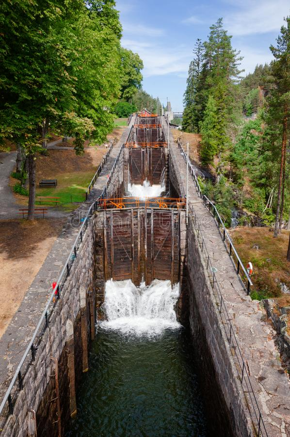 Vrangfoss staircase locks Telemark Canal Telemark Norway. Vrangfoss staircase locks, the biggest lock and major tourist attraction on the Telemark Canal that royalty free stock images
