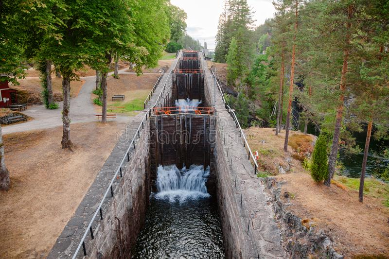 Vrangfoss staircase locks Telemark Canal Telemark Norway. Vrangfoss staircase locks, the biggest lock and major tourist attraction on the Telemark Canal that stock photo