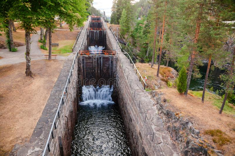 Vrangfoss staircase locks Telemark Canal Telemark Norway. Vrangfoss staircase locks, the biggest lock and major tourist attraction on the Telemark Canal that royalty free stock photography