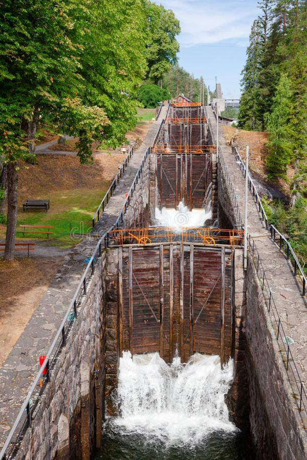 Vrangfoss staircase locks Telemark Canal Telemark Norway. Vrangfoss staircase locks, the biggest lock and major tourist attraction on the Telemark Canal that stock photography