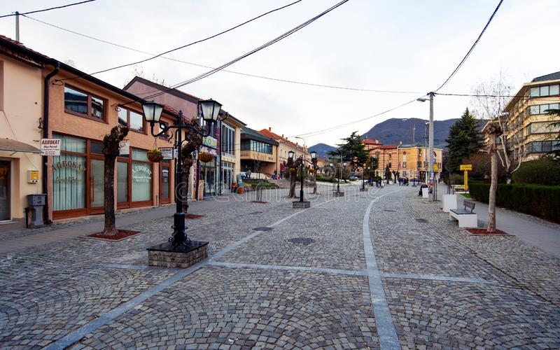 Vranje, Serbia - April 4, 2018: Pedestrian street in Vranje on a. Cloudy day in south Serbia royalty free stock image