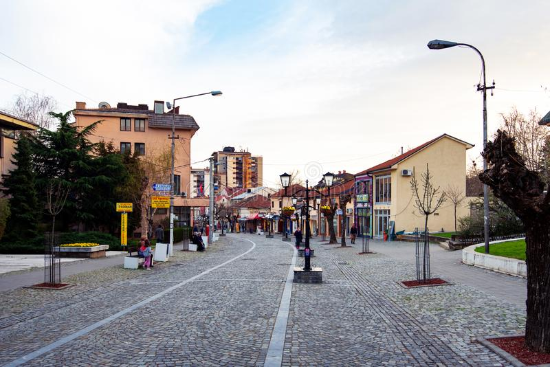 Vranje, Serbia - April 4, 2018: Pedestrian street in Vranje on a. Cloudy day in south Serbia stock photography