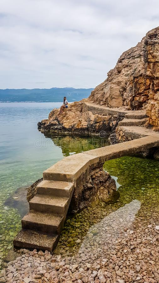Vrbnik - A little pathway to a cliff viewing point stock photo
