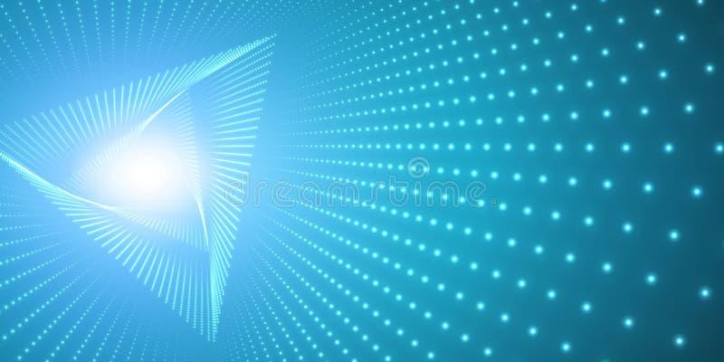 Vred den oändliga triangeln för vektorn tunnelen av skinande signalljus på blå bakgrund Glödande punktformtunnel royaltyfri illustrationer
