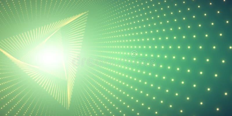 Vred den oändliga triangeln för vektorn tunnelen av skinande signalljus på grön bakgrund Glödande punktformtunnel vektor illustrationer