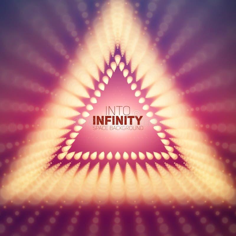 Vred den oändliga triangeln för vektorn tunnelen av skinande signalljus på violett bakgrund Glödande punktformtunnel Abstrakt beg royaltyfri illustrationer