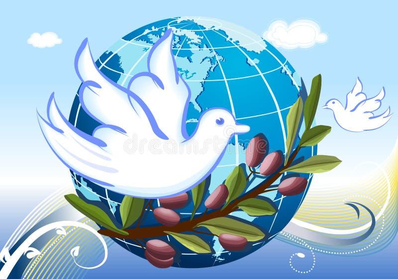 Vrede aan de Wereld met witte duiven vector illustratie