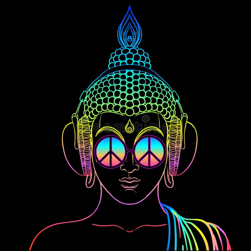 vrede en liefde Kleurrijke Boedha die in regenboogglazen luisteren aan royalty-vrije illustratie