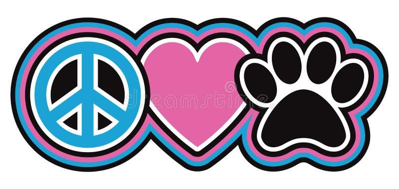 Vrede-liefde-huisdieren stock illustratie