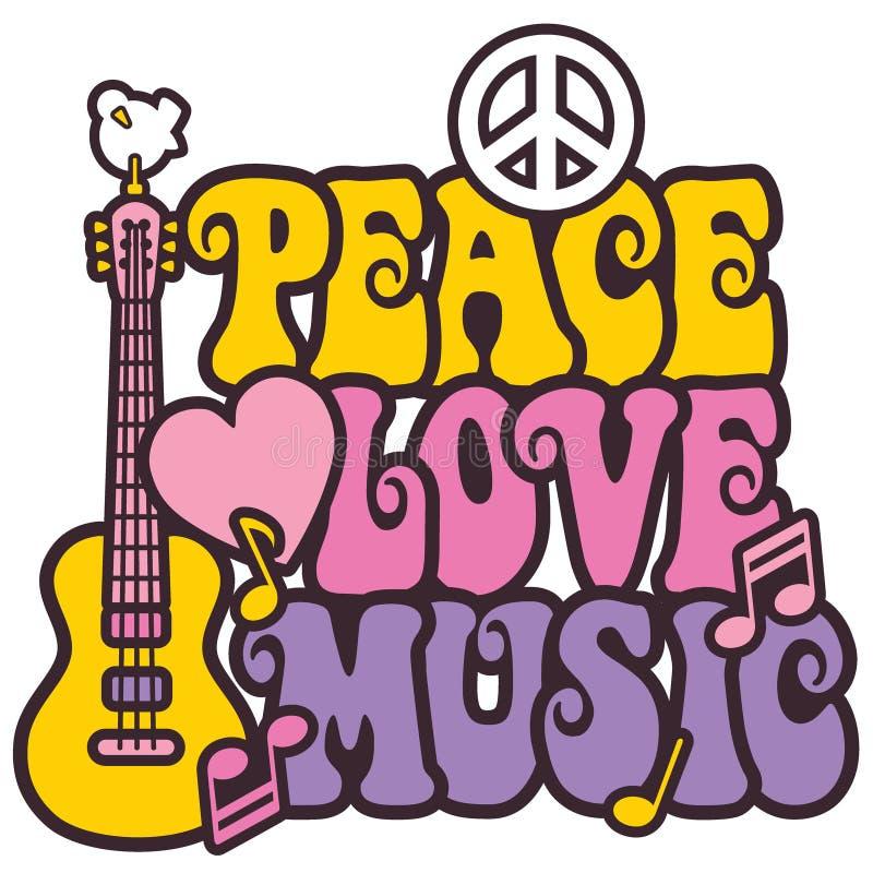 Vrede-liefde-muziek stock illustratie