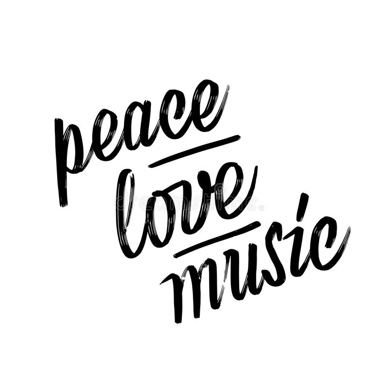 Vrede, Liefde, Muziek Met de hand het van letters voorzien stock illustratie