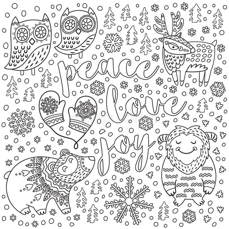 Vrede, liefde, vreugde Inktkerstkaart met tekst en decoratieve buitensporige dieren in de sneeuw Contour vectorillustratie stock illustratie